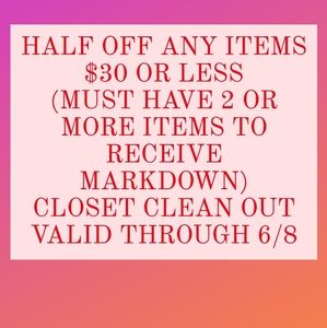 HALF OFF ITEMS MARKED $30 OR LESS. VALID THRU 6/8